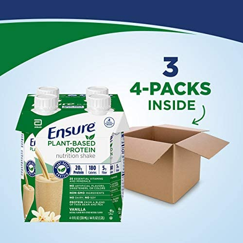 Ensure 100% Plant-Based Vegan Protein Nutrition Shakes with 20g Fava Bean and Pea Protein, Vanilla, 11 fl oz, 12 Count 9