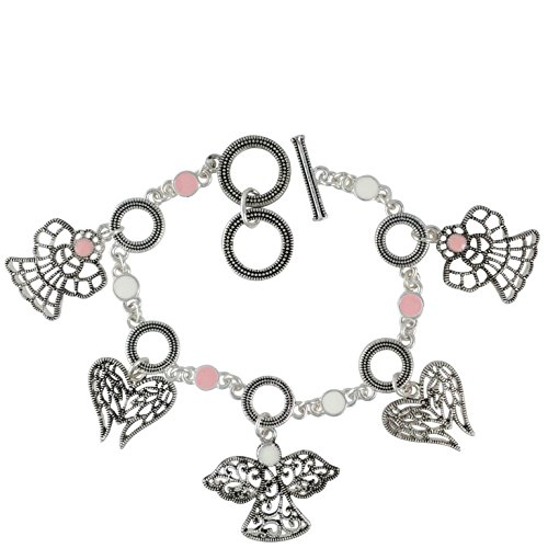 Gypsy Jewels Filigree Angel & Angel Wings Silver Tone Dangle Charm Pink & White Dot Bracelet