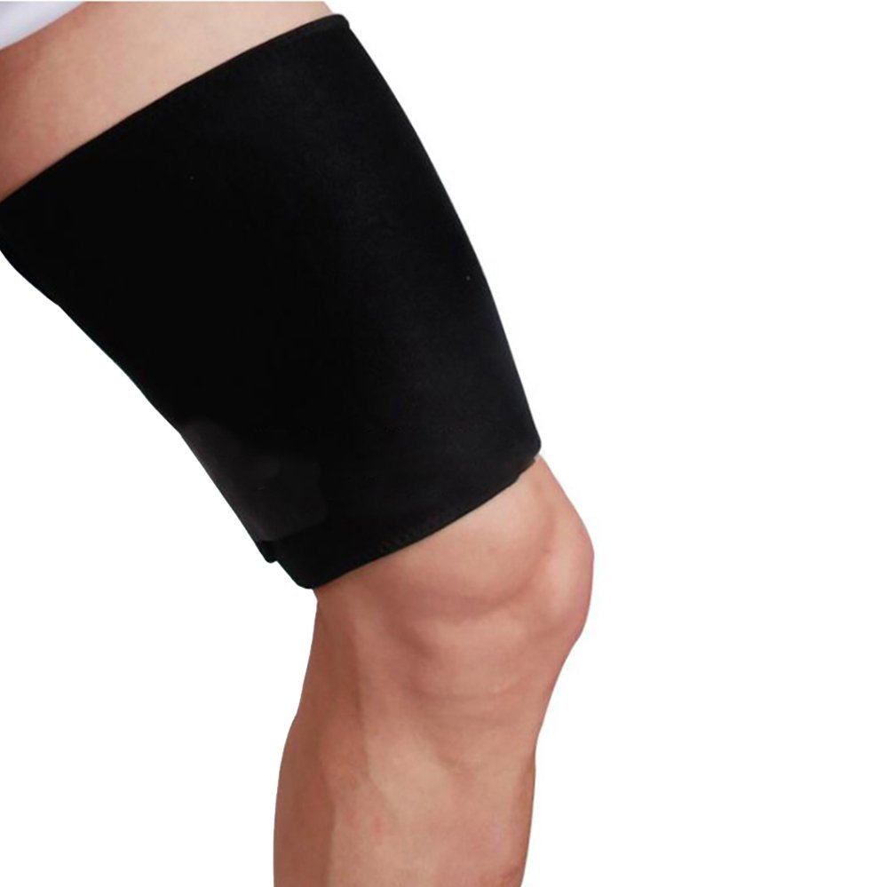 Enshey Thigh Compression Sleeve Support for Pulled Hamstring Strain Injury Tendonitis Rehab and Recovery Thigh Wrap Black Thigh Brace Fits Men and Women by Enshey