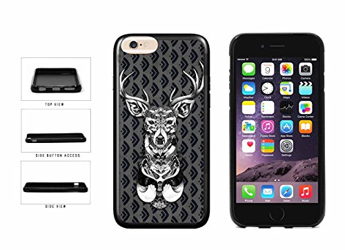 Black And White Deer On Filigree Pattern TPU RUBBER Phone Case Back Cover Apple iPhone 6 Plus (5.5 inches screen) comes with Security Tag and MyPhone Designs(TM) Cleaning Cloth
