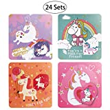 IBASETOY Valentines Day Cards for Kids - 24 Valentines Cards with 6 Different Unicorn Designs, Includes Envelopes and Bonus Stickers - Pack of 24 (2)