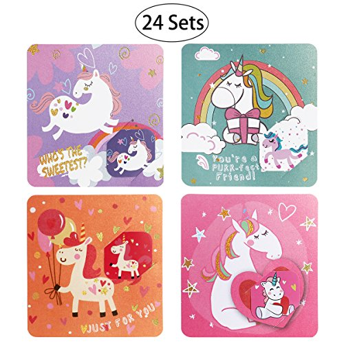 iBaseToy Valentine's Day Cards for Kids - 24 Cards in 4 Different Cute Unicorn Designs, Includes Envelopes and Bonus Stickers - Pack of - Valentines Day Looks