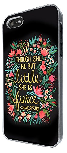 333 - Floral Shakespeare quote though but little she is fierce Design iphone 4 / 4S Hülle Fashion Trend Case Back Cover Metall und Kunststoff