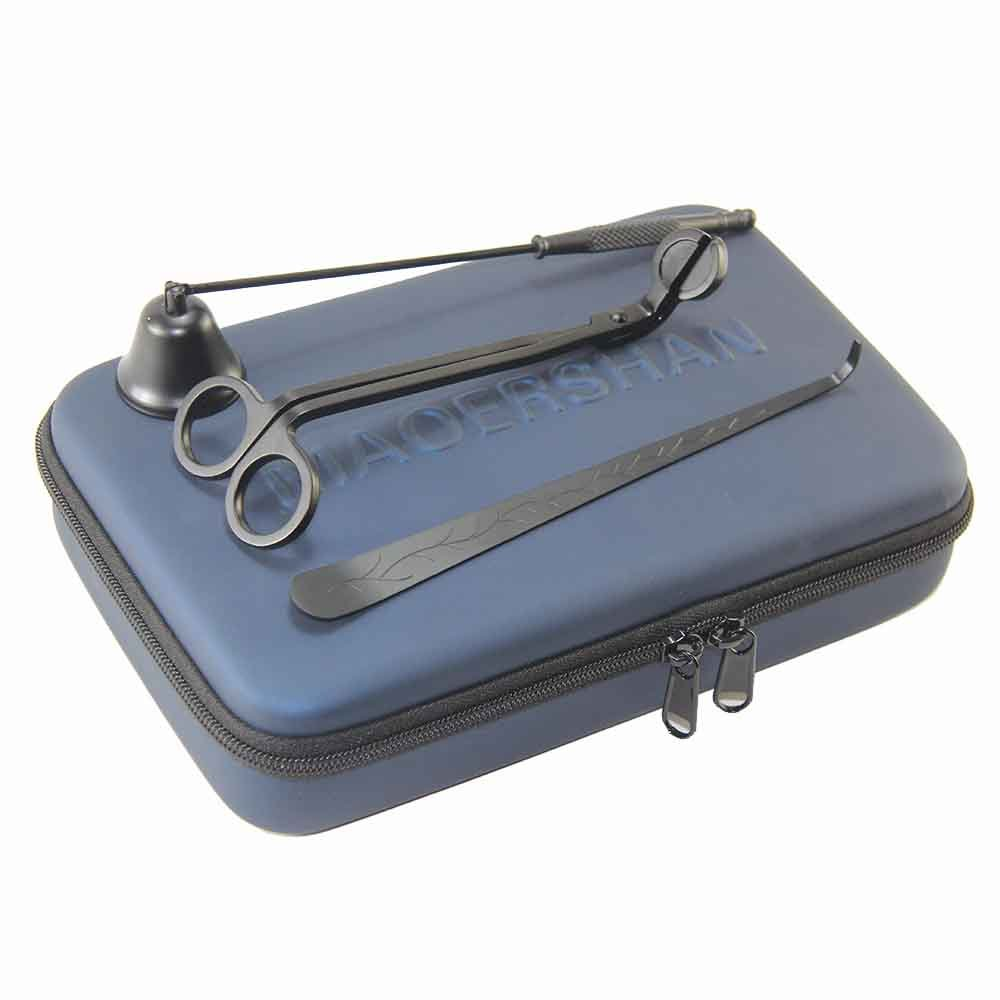 HJ-02 Candle Accessory Hard EVA Travel Bag - Set of 3 - Wick Trimmer, Wick Dipper & Bell Snuffer(Black)