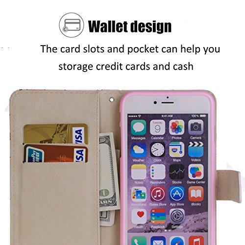 iPhone 6S Plus Hülle Niedlich Einhorn PU Leder Magnetverschluss Ständer Flip Brieftasche Schutzhülle Handyhülle Mit Kartenfach Für Apple iPhone 6 Plus / 6S Plus (5,5 Zoll) (Mit Paket)