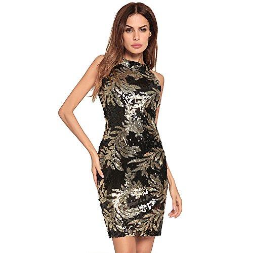 mujer vestido FOLOBE noche Brown de la de de fiesta vestido lentejuelas tIqBwq7F