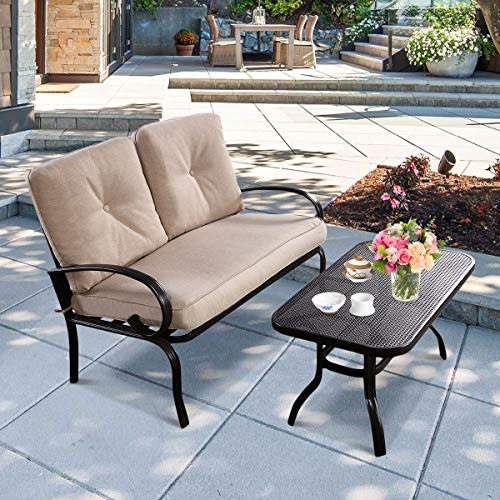 HAPPYGRILL 2pcs Patio Loveseat with Coffee Table, Outdoor Gardeb Backyard Bench Sofa with Cushion