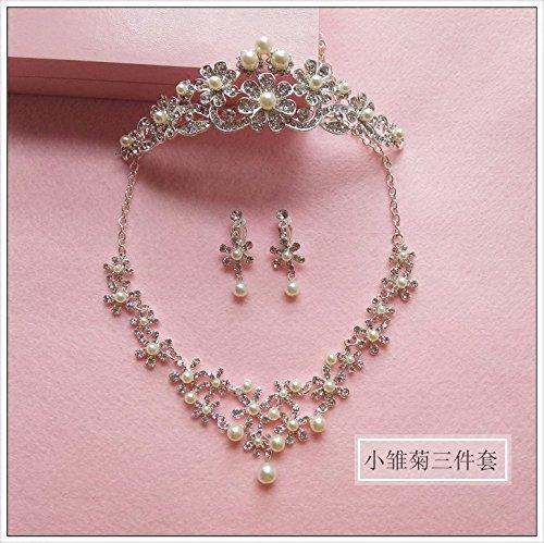 Quantity 1x Korean bride s_ Headdress _three_Ear_ clip earrings sweet _little_daisy_ flower pearl _water_ diamond Wedding Hair Ornaments