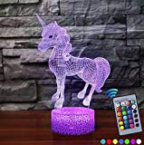 haihai Night Light for Kids,Unicorn Head LED Night Light 7 Colors Table Lamp Boys Bedroom Lights with USB Power Cable Remote Birthday Gifts