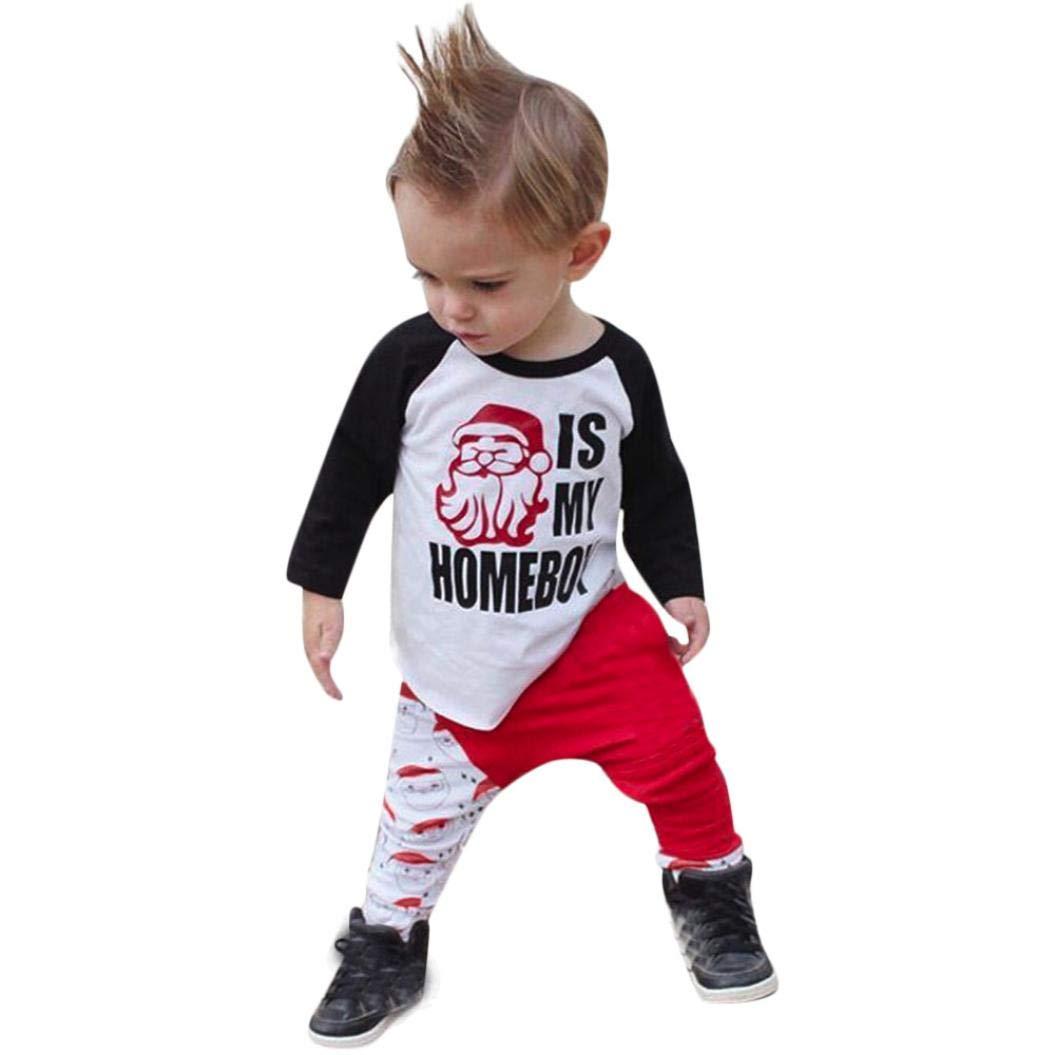 GoodLock Baby Boys Girls Christmas Clothes Set Newborn Letter Patchwork Tops Cartoon Pants Outfits 2Pcs (White, 24 Months)