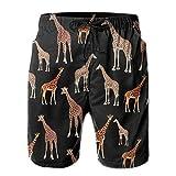 Men's Giraffe Animal Black Quick Dry Summer Beach Surfing Board Shorts Swim Trunks Cargo Shorts