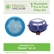 High Quality Washable & Reusable Pre & Post Filter Replacement Kit Designed To Fit Dyson DC25 Uprights, Compare To Part # 916188-05, 914790-01, Designed & Engineered By Crucial Vacuum