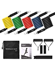 TOPELEK Upgraded Version Exercise Stretch Fitness Resistance Bands Set with Handles/Door Anchor/Ankle Straps/Carrying Pouch/Workout Guidesfor Men, Women, 100LBS