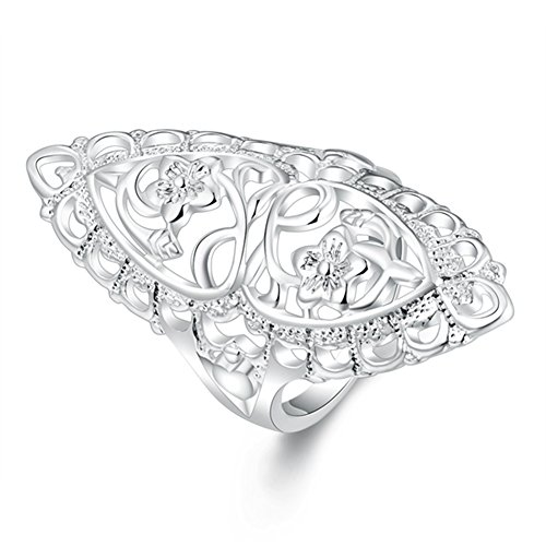 Women Engagement Rings Alloy Silver Plated Hollow Carved Flowers Rings - Brian P. Walker