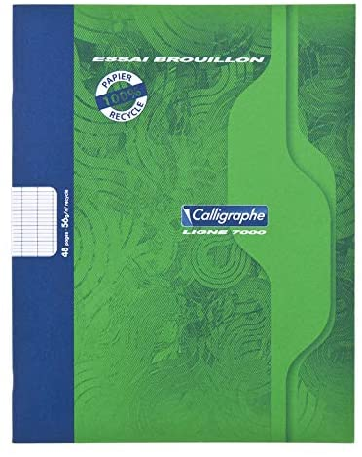 Calligraphe Schulheft, 17 x 22 cm, 48 Seiten, Seyès-Lineatur, 56 g, 100% recycelt, Grün, 20 Stück