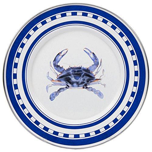 Enamelware - Blue Crab Pattern - 8.5 Inch Sandwich Plate