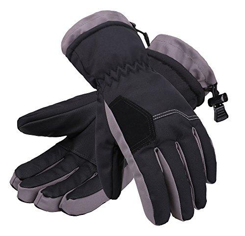 - Andorra Child's Two Tone Geometric Ski Gloves,Black w/ Grey Trim,S(4-6 Years)