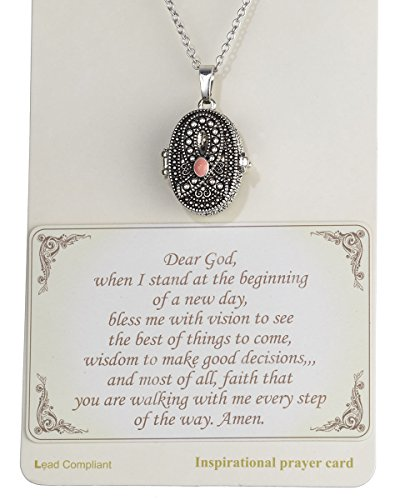 (Jewelry Nexus Pink Ribbon with Prayer Scroll inside Locket 18