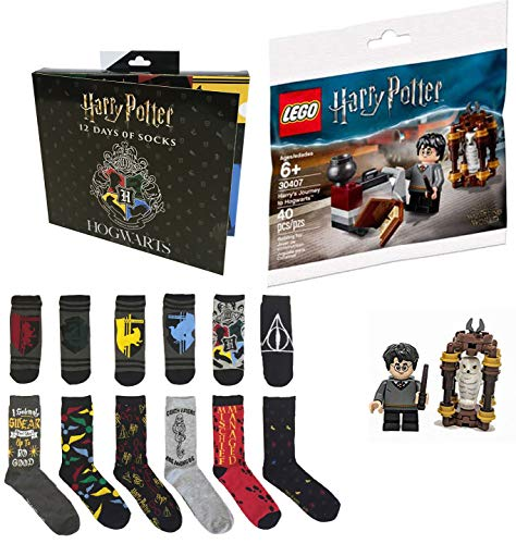 Block Figures of Harry Potter Bundled with Brick Set Journey to Hogwarts Building with Hedwig Mini Figure + Wizard Advent Character Holiday Sock Box 2 Items