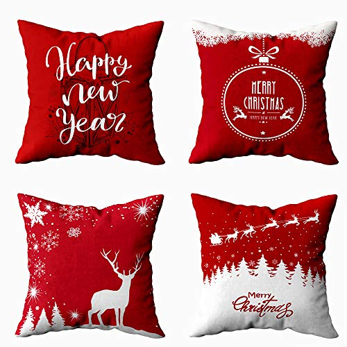 Shorping 16X16 Pillow Covers, Snowflake Decorations Zippered Covers Joy Pillow Case Farmhouse Throw Pillow Covers 4Pcs Red Background with Reindeers and Santa Claus for Home Sofa Bedding (Snowflake Zippered Pillowcases)