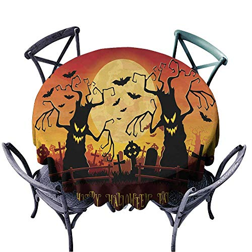 Onefzc Fashions Table Cloth Halloween Background Scary Monsters Trees on Old Cemetery for Events Party Restaurant Dining Table Cover 67