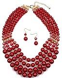 Shineland Elegant Multi-Strand Pearl Glass Crystal Cluster Collar Bib Choker Necklace EarringSets (4 Layered Red)
