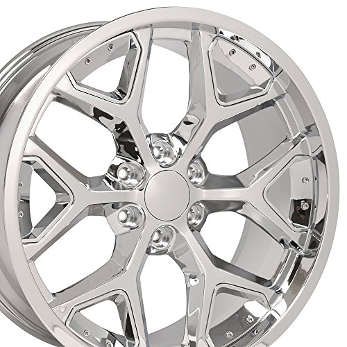 Chrome Aluminum Rims Plated (22x9.5 Wheel Fits GM Trucks and SUVs - Deep Dish Silverado Style Chrome Rim w/Chrome Inserts)