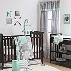Mint Woodland and Geometric Patchwork Boy's 5 Piece Crib Bedding by The Peanut Shell