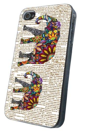 iphone 4 4S Vintage Newspaper Aztec ornate elephant fashion Design Hülle Case Back Cover Metall und Kunststoff-Löschen Frame