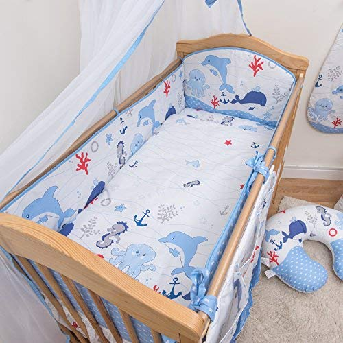 ALL ROUND COT BUMPER 60x120 70x140 baby bed covers 4 sides STARS GREY WHITE