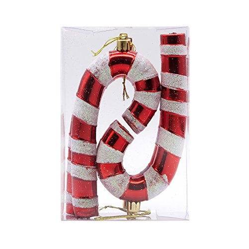 Yoland Christmas Candy Cane Set of 4 Shape Romantic and Fashionable Ornaments Tree Garnish for Xmas, Party, Any Holiday Decorations (Candy Cane, (Xmas Cane)