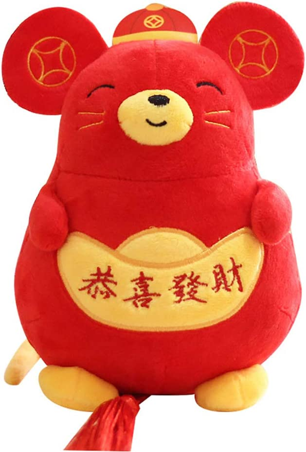 OHOUO 1 2Pcs Ratte Jahr Maskottchen Puppe Pl/üsch Chinesischen Knoten Festival Anh/änger Wohnkultur
