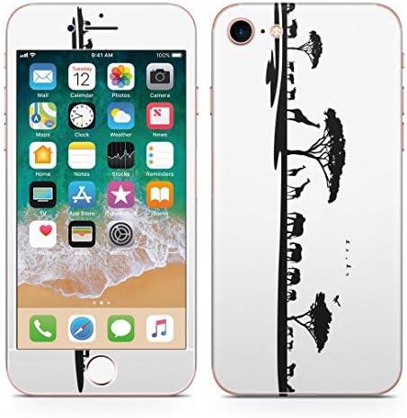 igsticker iPhone SE 2020 iPhone8 iPhone7 専用 スキンシール 全面スキンシール フル 背面 側面 正面 液晶 ステッカー 保護シール 009754 動物 サファリ モノクロ