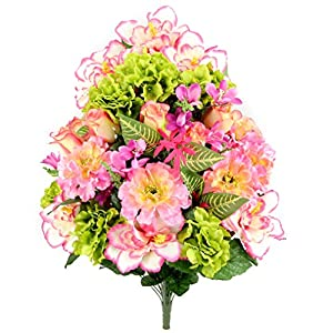 Admired By Nature Artificial Hibiscus with Rosebud, Freesias & Fillers Flower Mixed Bush for Home, Office, Restaurant & Wedding Arrangement, 36 Stems 17