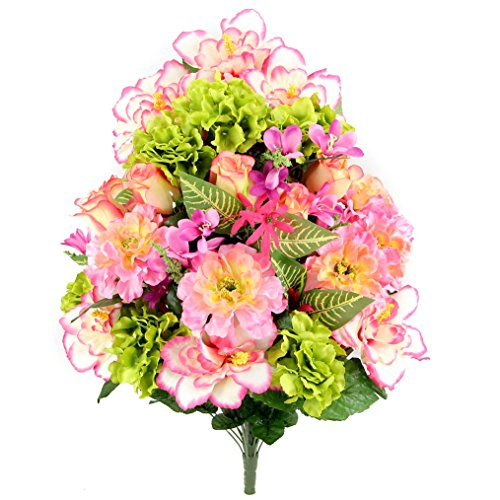 Admired By Nature Artificial Hibiscus with Rosebud, Freesias & Fillers Flower Mixed Bush - 36 Stems for Mother's Day or Decoration for Home, Restaurant, Office & Wedding, Bouquet (Freesia Bouquet Wedding)