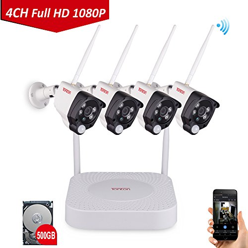 1080P Wireless Security Camera System, Tonton 4CH Full HD 1080P Network WIFI NVR with 500GB Hard Drive and 4PCS 2.0MP 1080P Outdoor Indoor Waterproof Bullet Cameras with PIR Sensor and Audio Recording Review