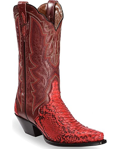 Dan Post Women's Back Cut Python Triad Cowgirl Boot Snip Toe Red 7.5 M