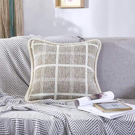 CSJY Tejido de algodón, Lino, Almohada, sofá, cojín ...