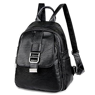 UTO Women Backpack Front Belt Purse PU Washed Leather Ladies Rucksack Shoulder Bag