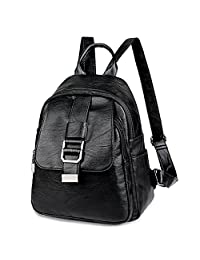 UTO Women Backpack Front Belt Purse PU Washed Leather Ladies Rucksack Shoulder Bag
