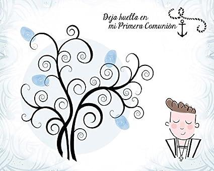 DISOK - ÁRboles De Huellas para Comuniones Niño - Árboles De Huellas para Bodas 60 x 40 cm - Láminas, Árboles Huellas para Personalizar para Comuniones