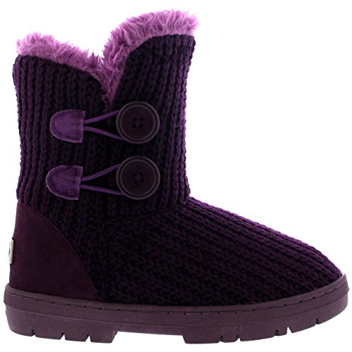 Womens Twin-button Waterdichte Winter Snowboots Paars Gebreid