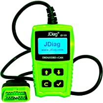 JDiag JD101 Car Auto Code Reader OBD2 OBDII EOBD Scanner Diagnostic Scan Tool Check Engine Light with Battery Testing Function - Clear Erase Fault Wrong Code for All Cars After 1996