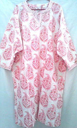 ec03bf864ec Pink Floral Paisley Anokhi Hand block print Indian cotton Tunic Top Kaftan  One size