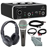 Behringer U-PHORIA UM2 2x2 USB Audio Interface and Deluxe Bundle w/Samson Q6 Mic + Headphones + Xpix...