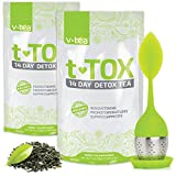v tea Teatox 28 Day Detox: Body Cleanse, Weight Loss, Reduce Bloating, 100% Organic with Tea Infuser