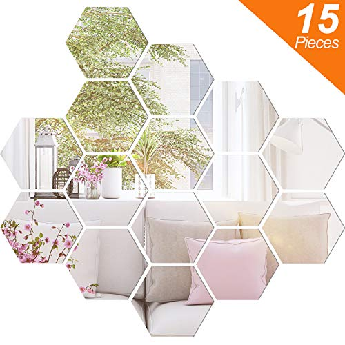 (BBTO Mirror Sheets Flexible Non Glass Mirror Plastic Mirror Self Adhesive Tiles Mirror Wall Stickers (15 Pieces,Size 4))