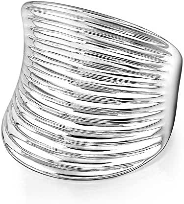 Mytys Retro Vintage White Gold Plated Unisex Dazzling White Gold Plated Wave Silver Fashion Ring