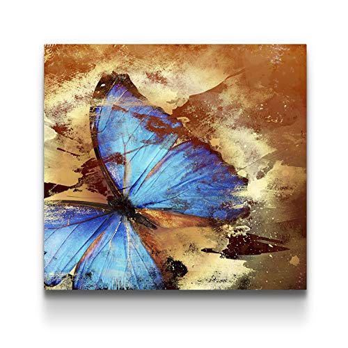 STARTONIGHT Canvas Wall Art Butterfly Abstract Turquoise, Butterfly Framed Wall Art 32' x 32'