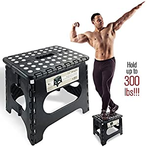 Super Strong Folding Step Stool – 11″ Height – Holds up to 300 Lb – The lightweight foldable step stool is sturdy enough to support adults & safe enough for kids. Skid resistant and open with one flip